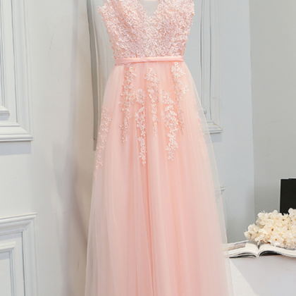 Elegant Baby Pink Tulle Appliques P..