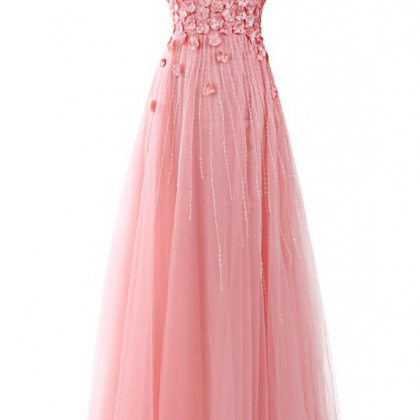 Pink Prom Dress,Applique Prom Dres..