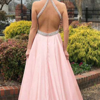 Elegant Beaded Pink Long Prom Dress..
