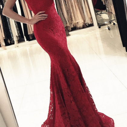 lace evening dress,mermaid prom dre..
