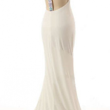 long prom dress, white prom dress,..