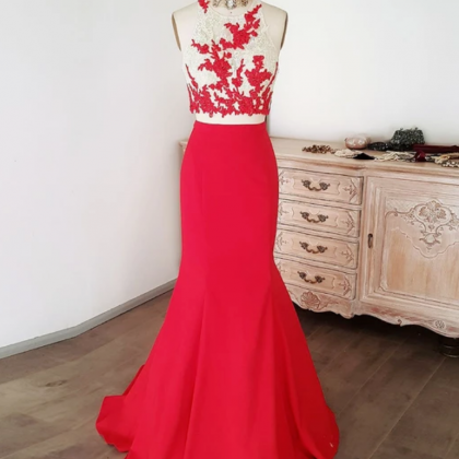 TWO PIECES LACE LONG PROM DRESS RED..