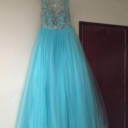 Blue Prom Dresses,Tulle Prom Dress,..