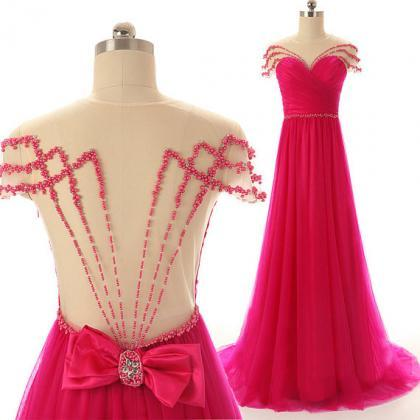 Hot Pink Prom Dresses,Backless Even..