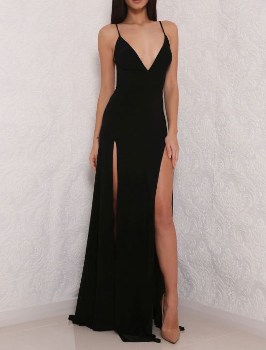 Black Prom Dress Open Back Prom Dresses Elegant Evening Dress