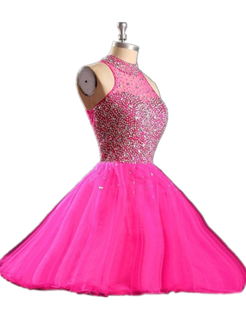Cheap Hot Pink Homecoming Dress Shipping Sexy Backless Graduation Dresses for Teenagers