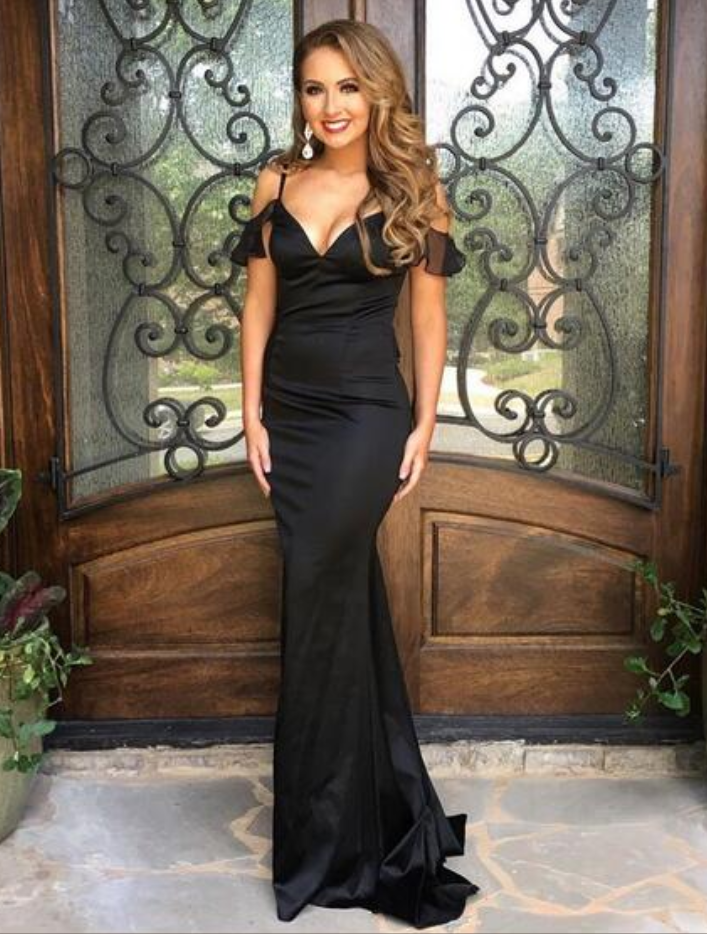 9744a0c59428 Black V Neck Mermaid Satin Prom Dresses Off the Shoulder Sleeveless Evening  Dresses Formal Gowns Vestidos