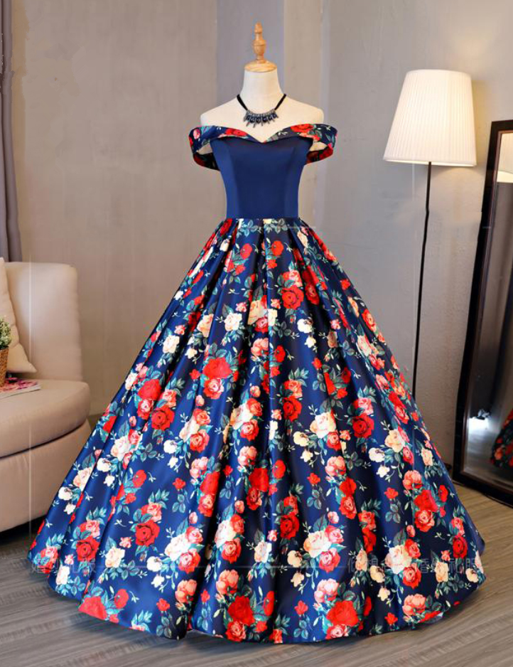 Fashion Floral Flowers Pattern Print Long Prom Dresses Robe de Soiree Off the Shoulder Lace up Back Evening Party Gown