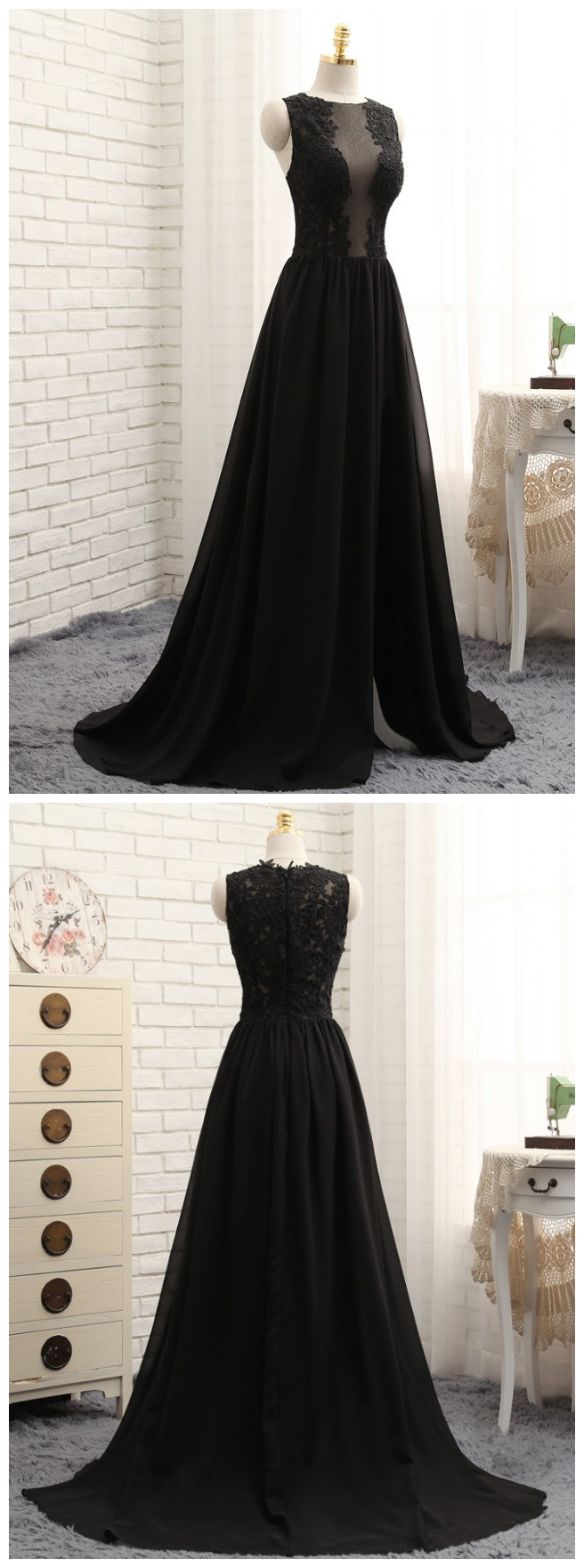 Prom Dresses, A-line Black Chiffon Appliques Lace Sexy Long Prom Gown ,Evening Dresses, Evening Gown