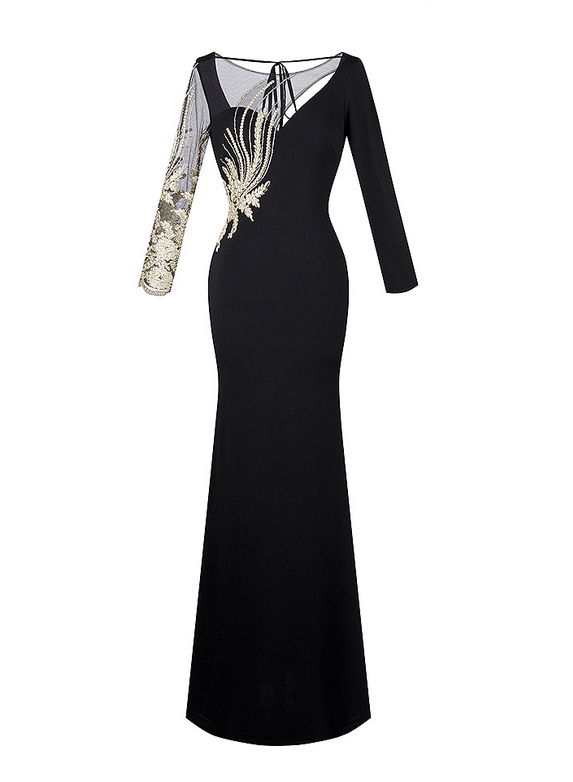 a69c2a7c0124 Women s Long Sleeves Embroidery Hollow Out See through Floor Length Evening  Dress Black