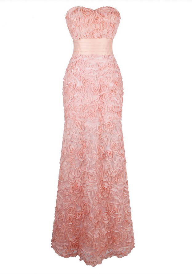 Off Shoulder Chiffon Flowers Ruched Long Evening Dresses Pink