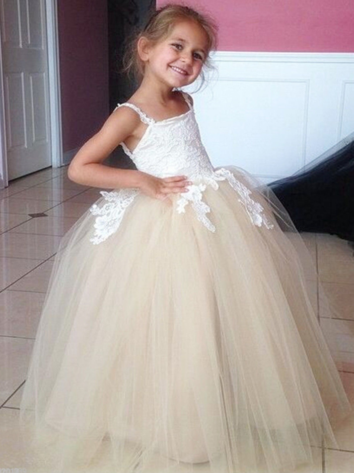 4625218793 Flower Girl Dresses Champagne Long Flower Girls Dresses For Weddings  Spaghetti straps Ball Gowns Vintage Girl Party Prom Pageant Pincess Dresses  Girl First ...