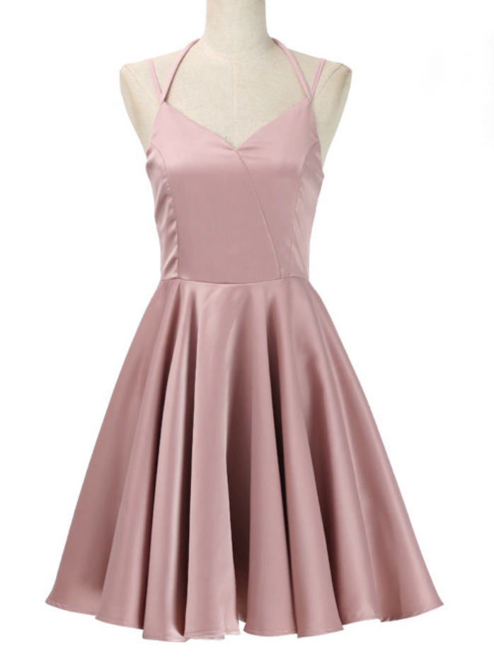Sexy Pearl Pink Straps Short Women Dresses, Short Party Dresses, Pink Women Dresses