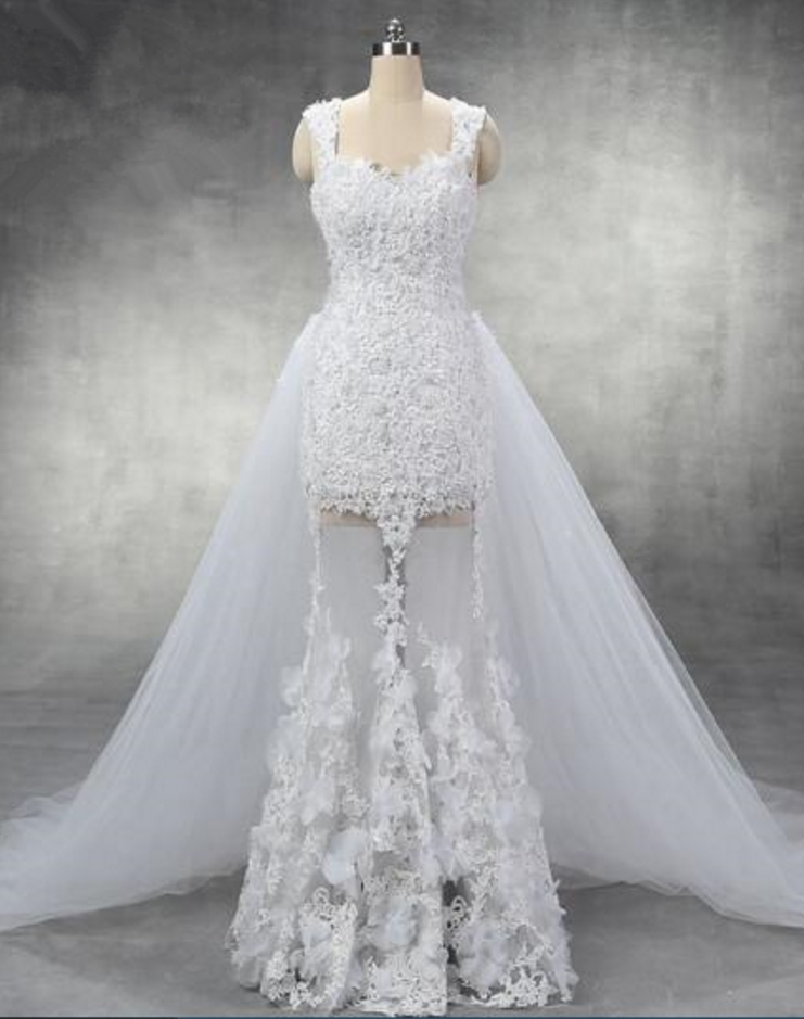 990e6bcaa37ef Sexy Cap Sleeves Pearl Beaded Lace Sheath Wedding Dress with Detachable  Tulle Train See Through Skirt