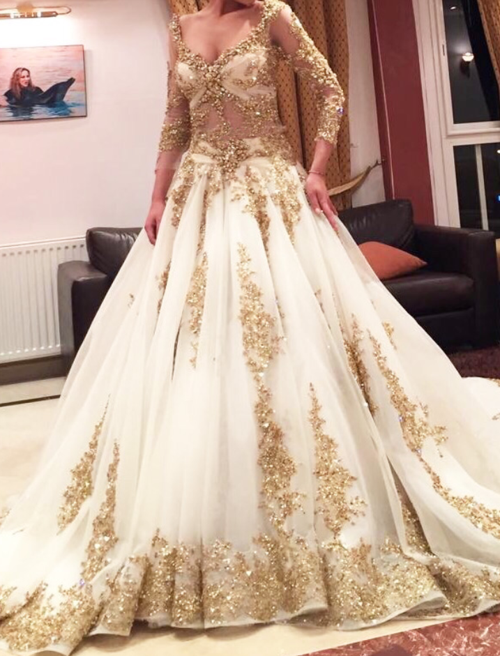 Gold Lace Appliqus Plunge V Long Sleeves Floor Length Wedding Gown