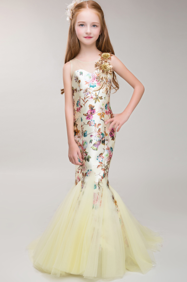 Flower Dresses Light Yellow Mermaid Dress Champagne Trumpet New High Quality