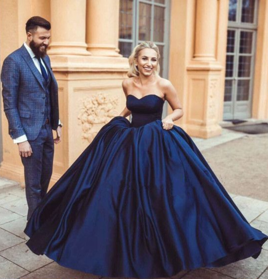 Navy Blue Ball Gowns Satin Wedding Dress Engagement Gown Prom