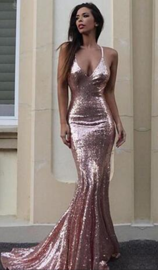 a492e805 Gorgeous Mermaid V-Neck Prom Dress Light Pink Sequins Empire Sweep Train  Evening Gown Reception