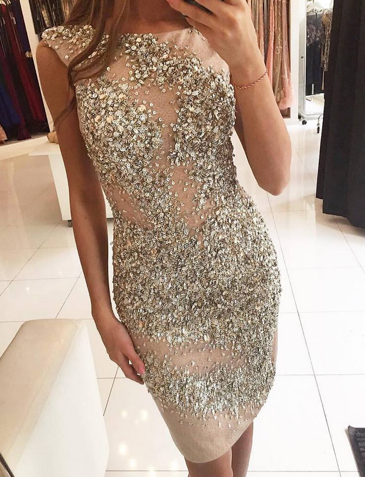 Heavily Beading Cocktail Dresses Stunning Rhinestones Sequins Illusion