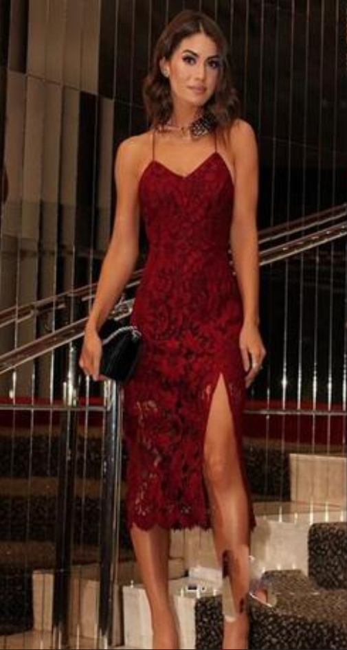 55e66dfc Cheap homecoming dresses Burgundy Sexy Lace Prom Dresses With Spaghetti  Straps Sexy back Criss Cross Straps Mermaid Dresses party Evening Wear Side  Split ...