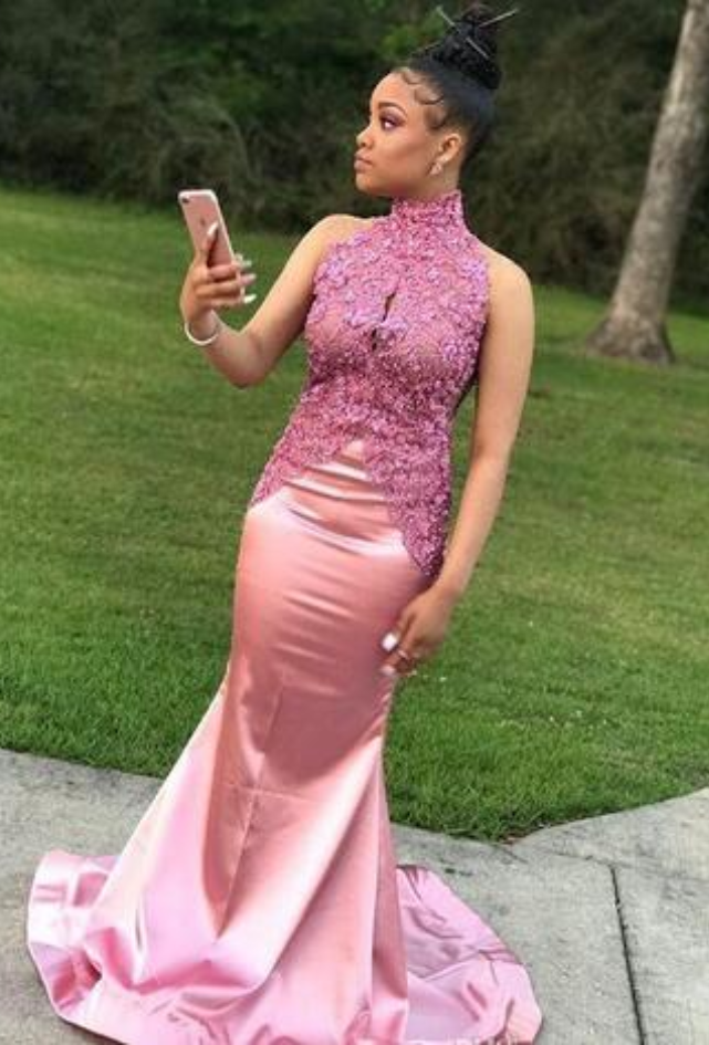 Elegant African Prom Party Dresses,High Neck Lace Appliques Prom ...
