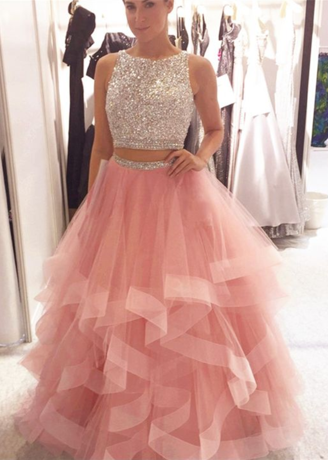Exquisite Sequin Beaded Organza Ruffles Prom Dresses Two Piece,Two ...