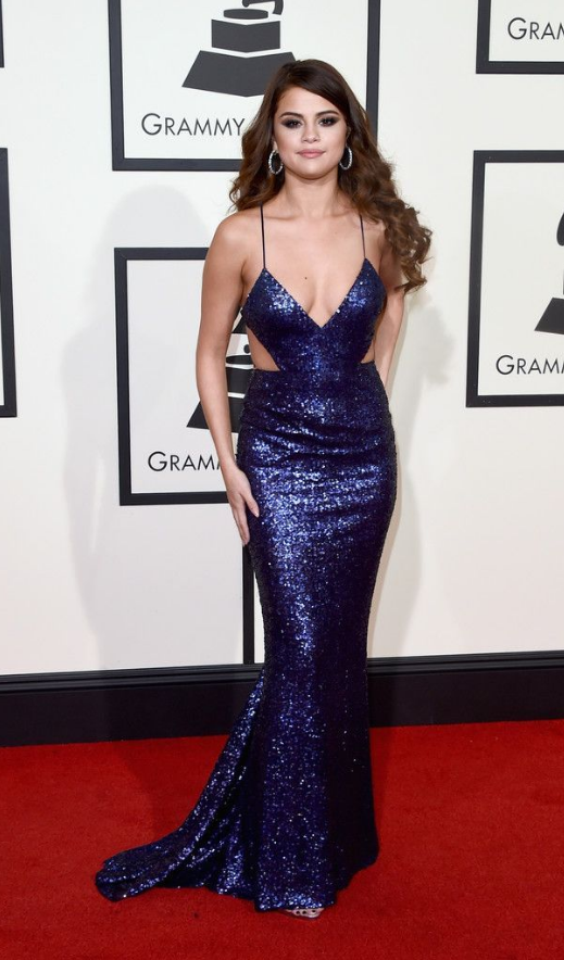 9d7b27249a9 Selena Gomez Red Carpet Spaghetti Straps Sexy Mermaid Sequin Long Prom Dress