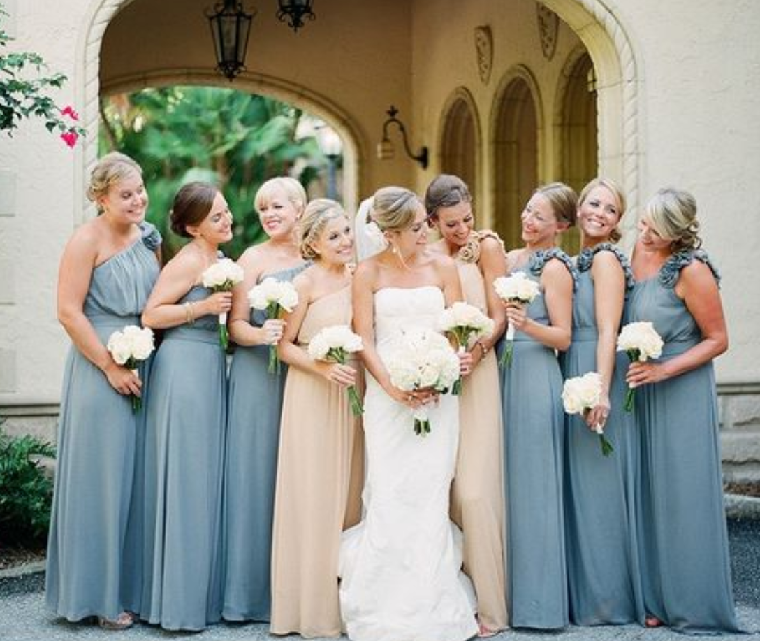 44f29e3c157cf One Shoulder Bridesmaid Dresses, Bridesmaid Dresses Long, Modest Dusty Blue  Bridesmaid Dresses