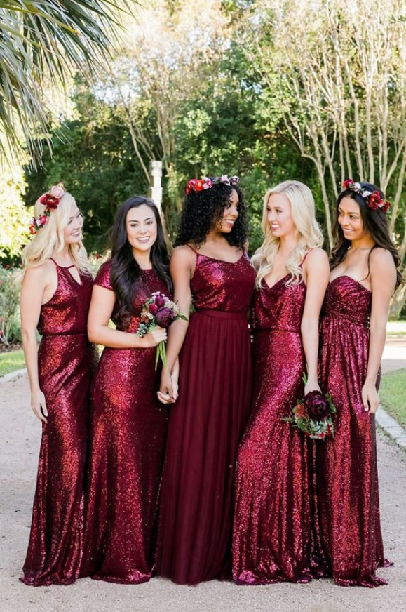 Mismatched Burgundy Bridesmaid Dresses Sequin Long Sequined