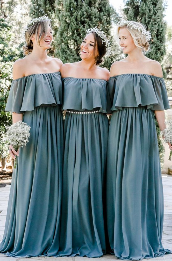 Off The Shoulder Bridesmaid Dresses, Ruffled