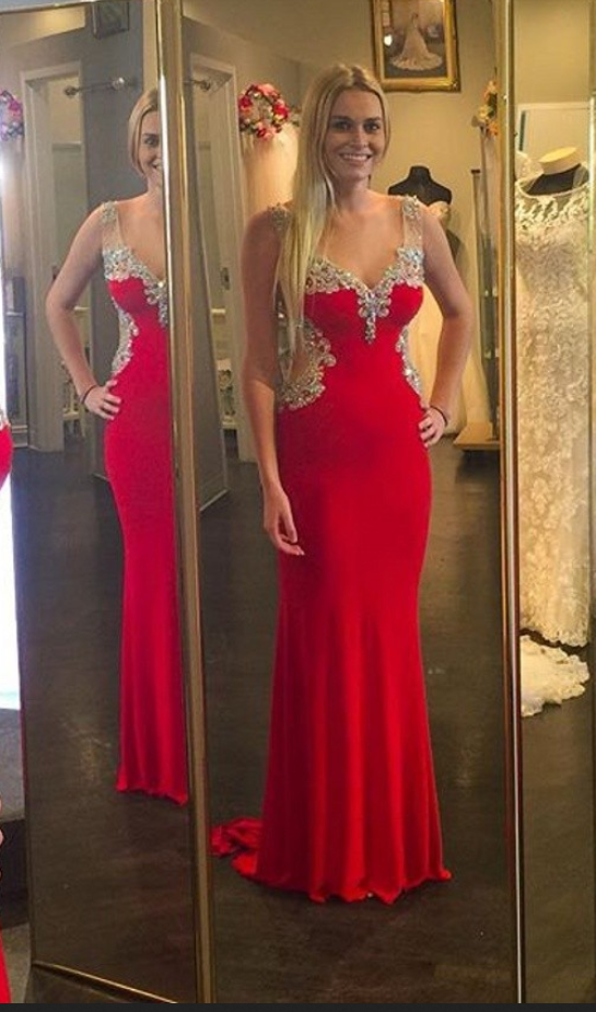 Evening Dress,Red Chiffon Prom Dress,Long Evening Dress,Formal Dress,Beading Crystal Prom Dress