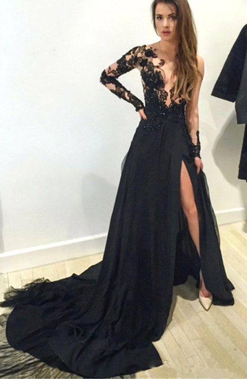 38dadfdd6d Black Floral Lace Applique Long Sleeves Split Evening Dresses Arabic Sheer  Plunging Neckline A Line Prom