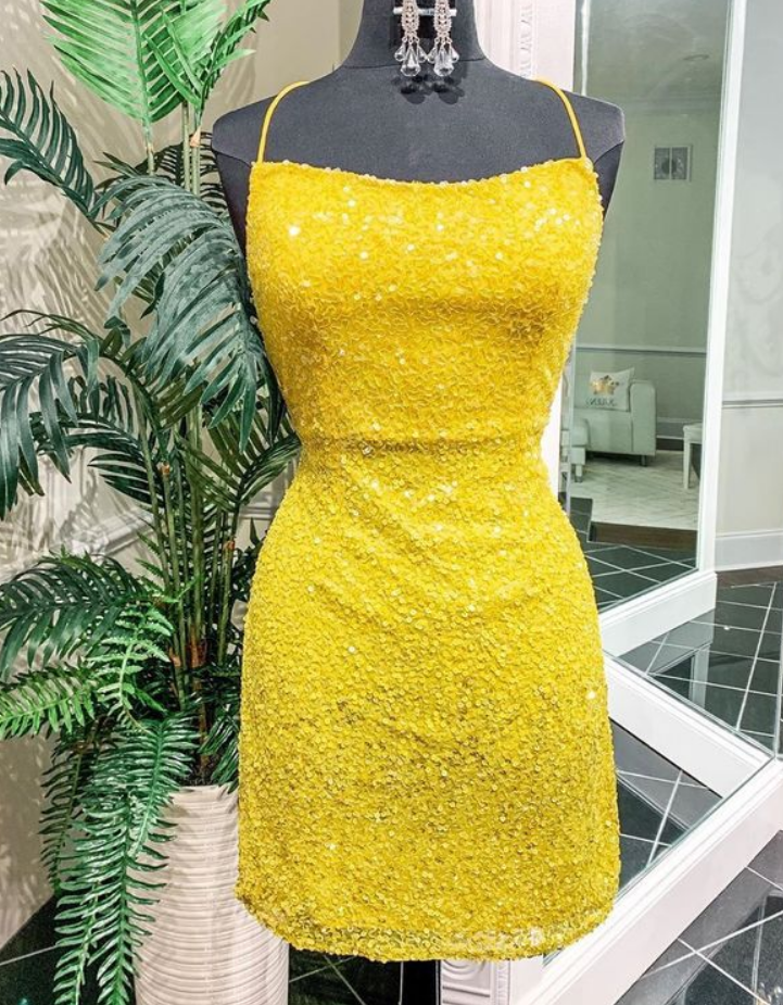 Strappy Yellow Short Homecoming Dress