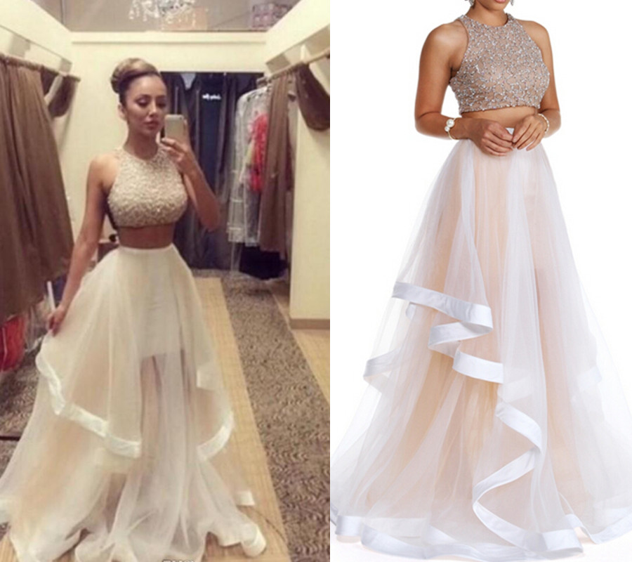 Champagne Prom Dress, Two Piece Prom Dresses, Long Prom Dress ...
