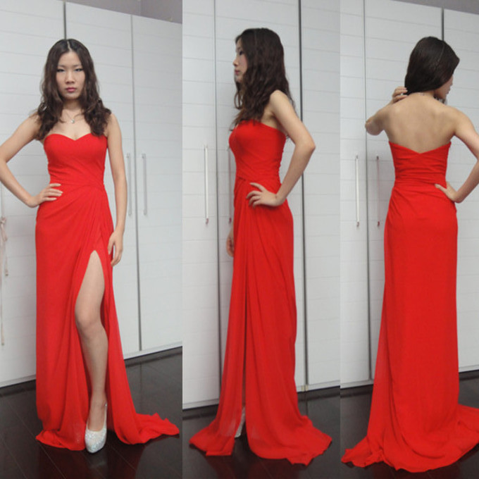 High Quality EVENING Dress Chiffon PARTY Dress Mermaid RED Prom Dress Brief Prom Dress Sweetheart Prom Dress