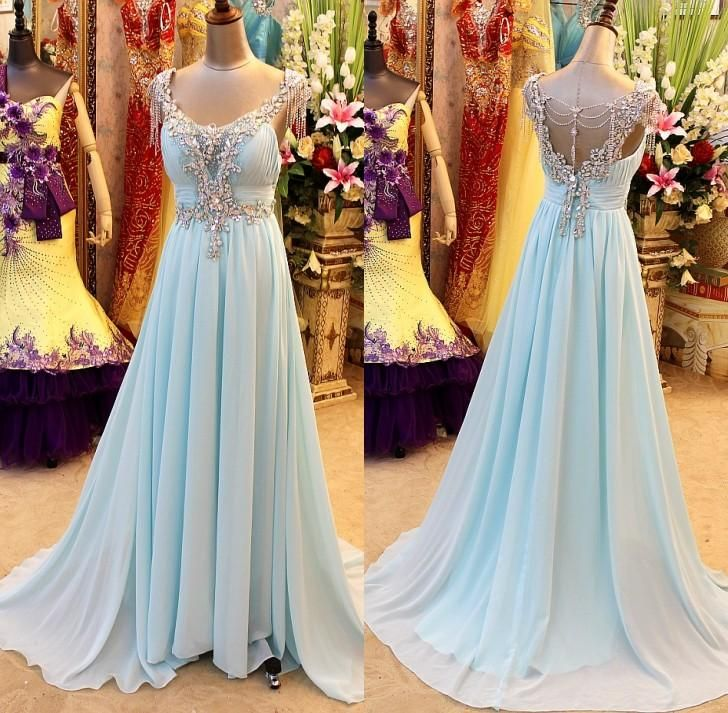 Charming EVENING Dress Chiffon PARTY Dress A-Line Prom Dress V-Neck Rom Dress Crystal Prom Dress