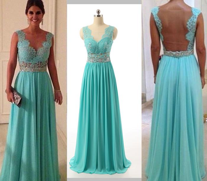 Lace Prom Dresses Elegant Evening Dresses Sheer Back Evening Gown Long Evening Gown Blue Evening Gown Party Dress