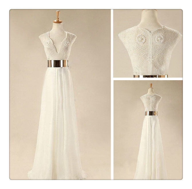 Custom Made White Floor Length Prom Dresses Wedding Dresses Dresses For Prom Evening Dresses On Luulla