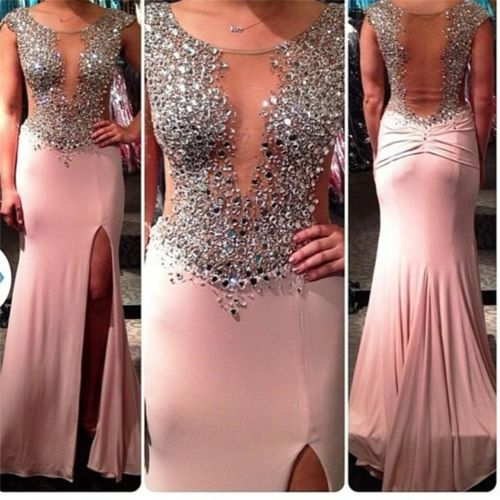 Long Prom Dress, Pink Prom Dress, Sparkle Prom Dress, Sexy Prom Dress, Sheath Prom Dress, High Slit Prom Dress, Prom Dress 2016, Evening Dress