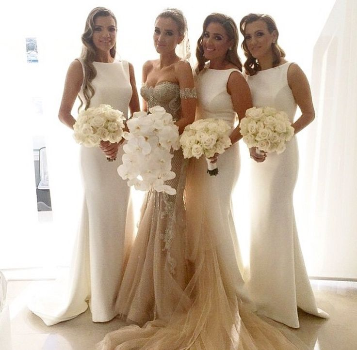 Long Bridesmaid Dress White Modest Dresses Formal Wedding