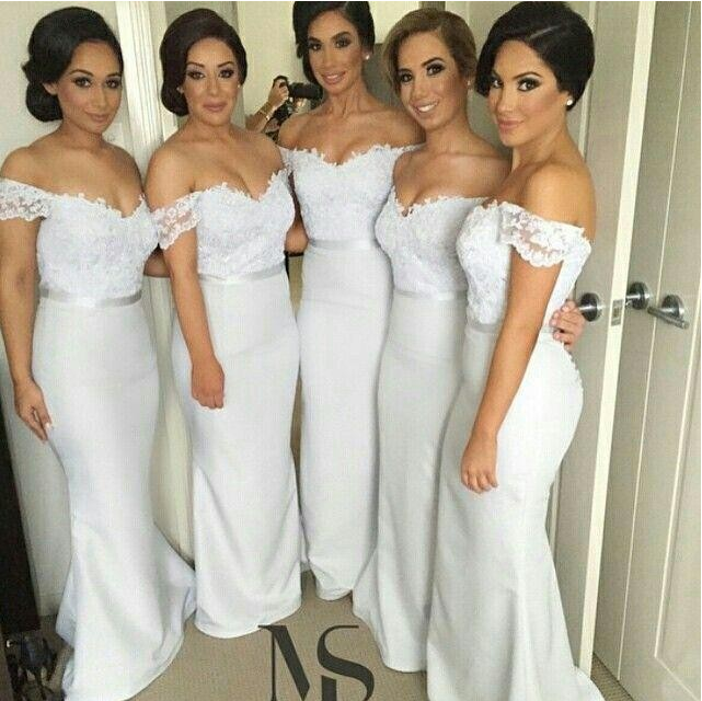 Long Bridesmaid Dress White Lace Sheath Elegant Off Shoulder