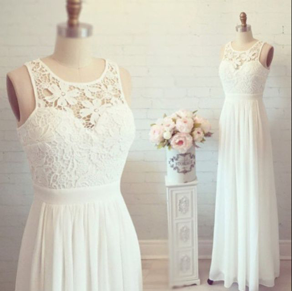 White Simple Cheap Lon Lace Wedding Dresses,Elegant Prom Dresses,Long  Evening Dresses,Cap Sleeves Prom Dress For Teens