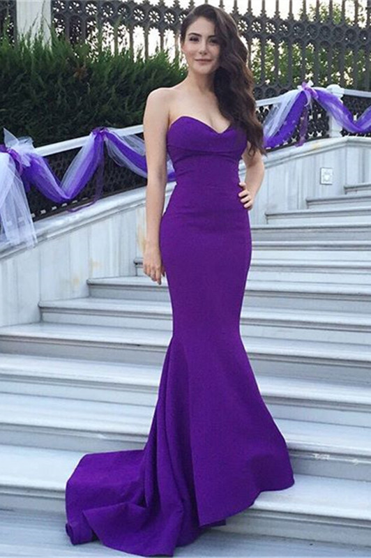b2f91cbee3b20 New Design Long Simple Purple Strapless Prom Dresses,Modest Prom Dresses,Cheap  Prom Gowns,Mermiad Evening Dresses,Beautiful Party Prom Dresses