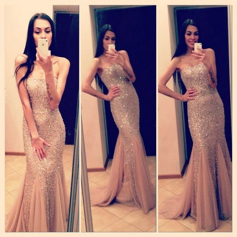 Champagne Prom Dresses,Mermaid Prom Gowns,Tulle Prom Dresses,Beading Prom Dresses,Mermaid Prom Gown, Prom Dress,Evening Gonw With Silver Beading For Teens