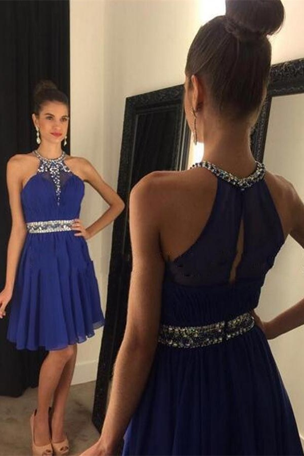 Royal Blue Homecoming Dress,Sparkle Homecoming Dresses,Beautiful Homecoming Gowns,Fashion Prom Gowns,Beading Sweet 16 Dress,Hign Neckline Homecoming Dresses,Cocktail Dress,Parties Gowns