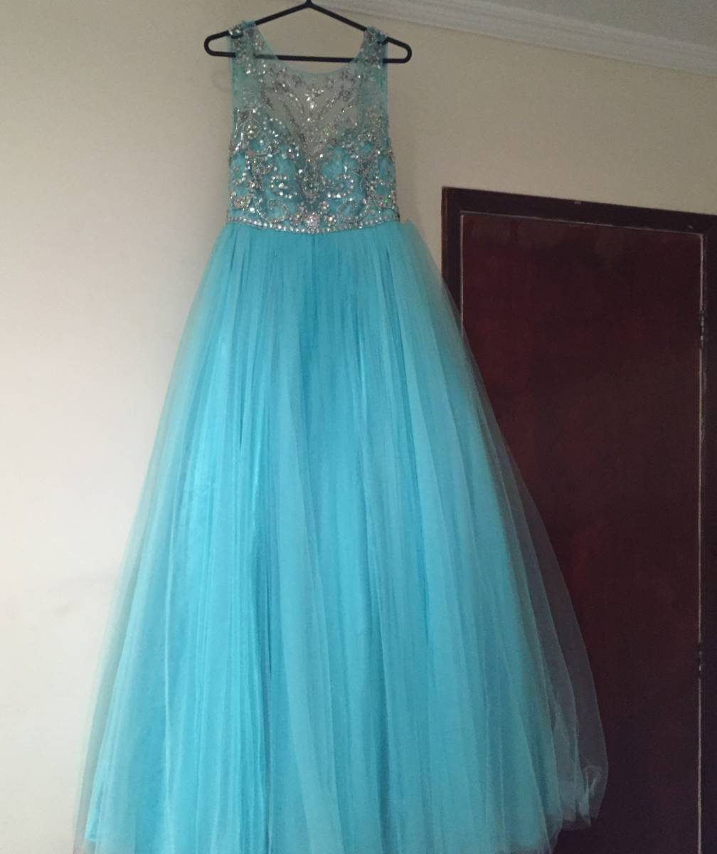 Blue Prom Dresses,Tulle Prom Dress,Modest Prom Gown,Silver Beaded Prom Gown,Princess Evening Dress,Ball Gown Evening Gowns,Beaded Party Gowns