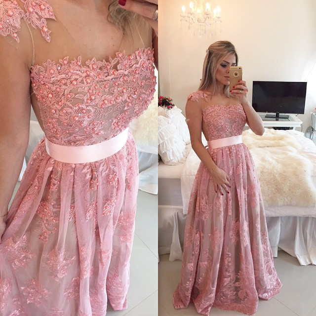 Prom Dresses,Evening Dress,Prom Dresses,Pink Evening Gowns,Lace Formal Dresses,Prom Dresses With Straps,Fashion Evening Gown,Beautiful Evening Dress,Pink Formal Dress,Lace Prom Gowns
