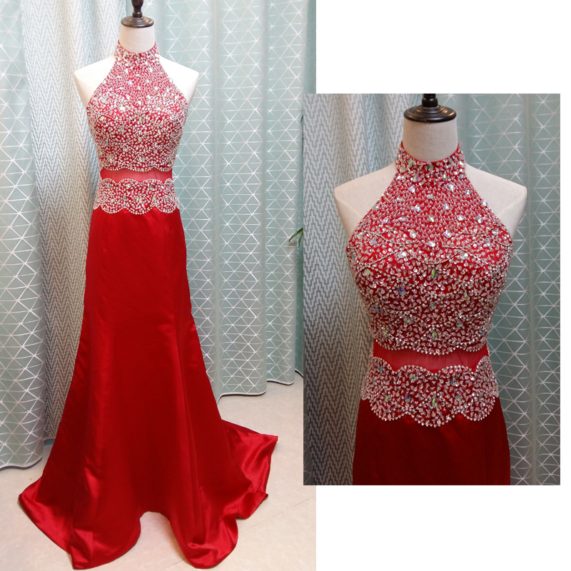 Prom Dresses,Evening Dress,Red Prom Dresses,Charming Prom Dress,Beading Prom Dress,High-Neck Prom Dress,Satin Evening Dress