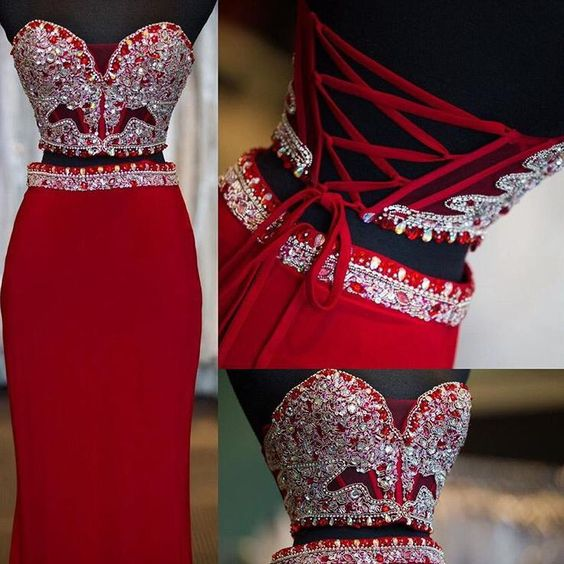 Prom Dresses,Evening Dress,2 Piece Prom Gown,Two Piece Prom Dresses,Red Evening Gowns,2 Pieces Party Dresses,Chiffon Evening Gowns,Sparkle Formal Dress,Bling Formal Gowns For Teens