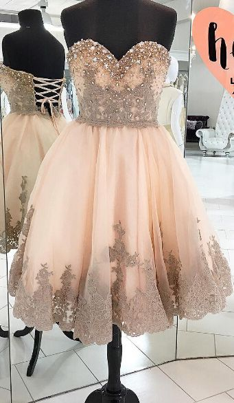 Homecoming Dresses,Lace Homecoming Dresses,Champagne Homecoming Gowns,Ball Gown Homecoming Dresses,Sweet 16 Dress For Teens